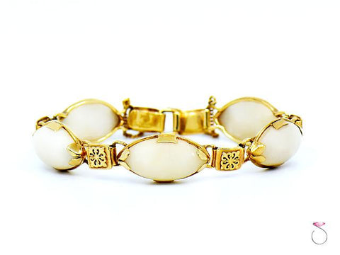 Ming's Hawaii White Jade & Hawaiian Quilt Design 14K Yellow Gold Bracelet