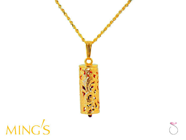 Ming's Pendant Floral Tube shaped in 14K Yellow Gold Hawaii online sale