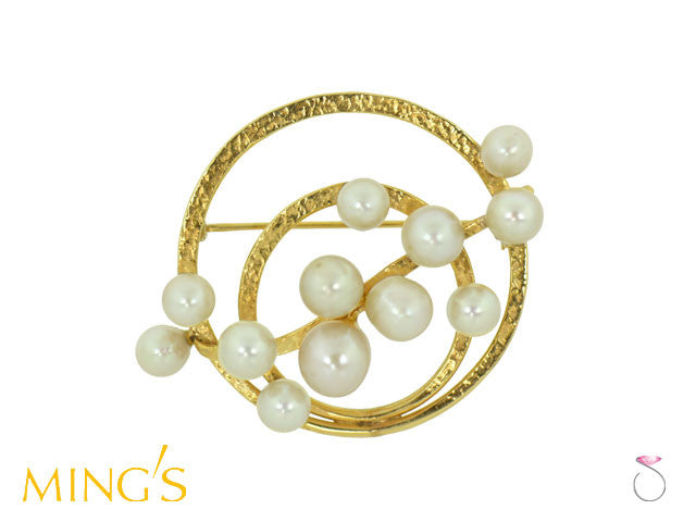 Ming's Hawaii Brooch Double Circle Pearls in 14K Gold