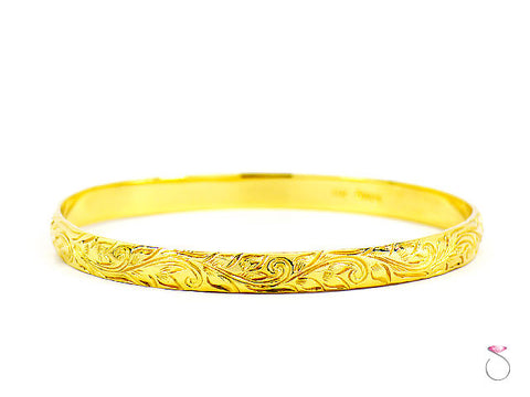 VINTAGE MING'S HAWAII YELLOW GOLD HAND-ENGRAVED BRACELET