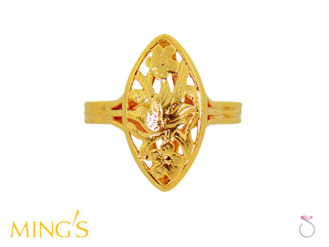 Ming's Ring Bird on Plum Marquise in 14K Yellow Gold