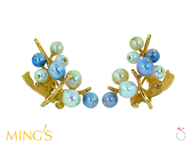 Ming's Honolulu Multi Color Pearls Branch 14K Gold Earrings