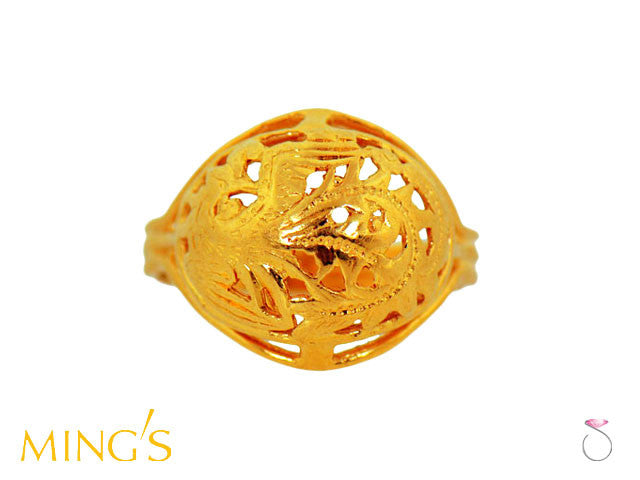 Ming's Ring Phoenix Oval Dome in 14K Yellow Gold Hawaii online sale
