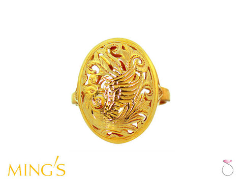 Ming's Hawaii Ring Phoenix Oval Dome in 14K Yellow Gold