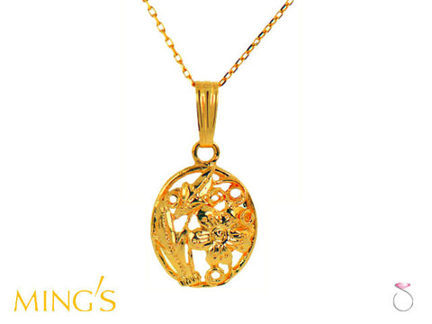 Ming's Pendant Floral Oval in 14K Yellow Gold