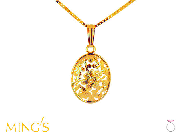 Ming's Pendant Plum Blossom Oval in 14K Yellow Gold Hawaii online sale