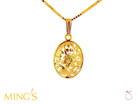 Ming's Pendant Plum Blossom Oval in 14K Yellow Gold