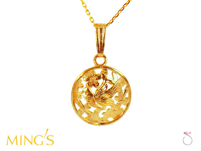 Ming's Pendant Bird on Plum Round in 14K Yellow Gold