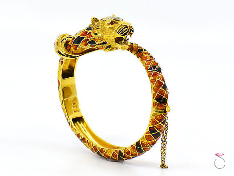 Vintage Italian Tige Enamel Diamond Bangle Bracelet, 18K Yellow Gold