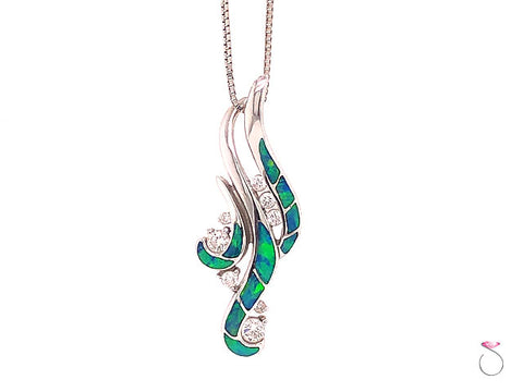 Na Hoku Waterfall Opal and Diamond 14K Pendant With Chain
