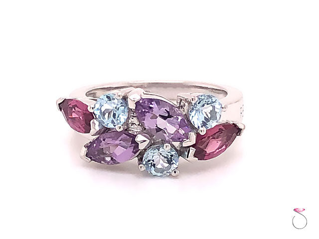 Louis Feraud Aquamarine, Amethyst and Garnet Cluster Band Ring