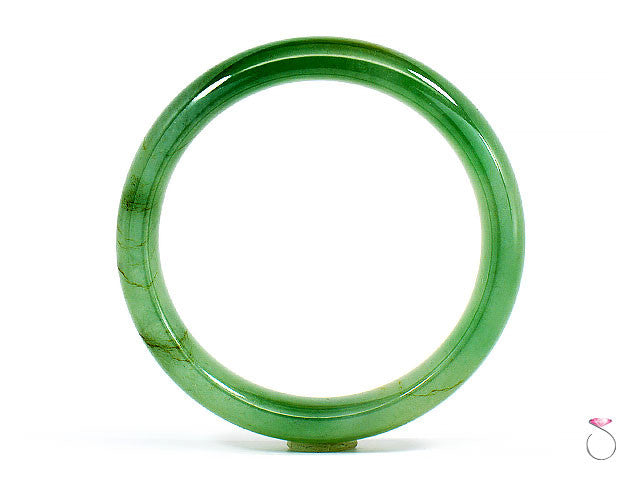 NATURAL GREEN JADEITE JADE BANGLE BRACELET, GIA CERTIFIED GRADE A