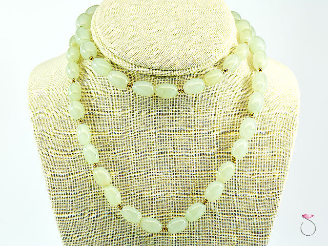 NATURAL LIGHT GREEN JADE OVAL BEAD NECKLACE 30 INCHES, 14K GOLD DIVIDERS & CLASP