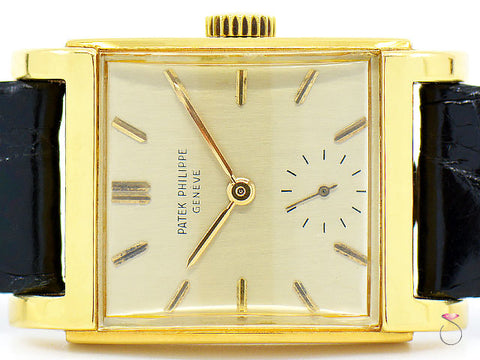 "Patek Philippe 2476 Rectangular ""Bombe'"" 18K Gold, Vintage Manual Winding Watch"