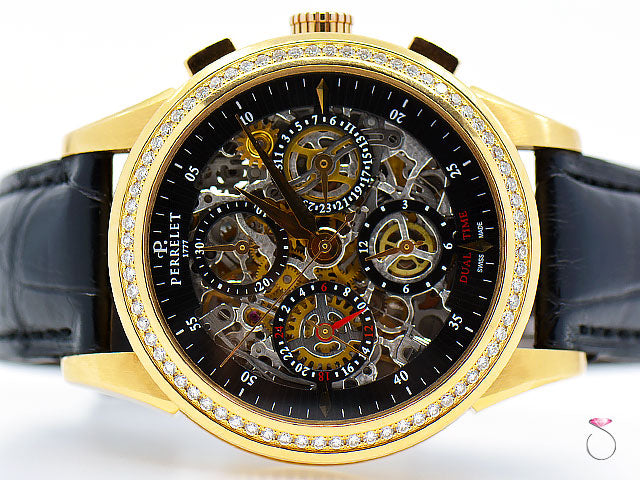 PERRELET Dual Time Automatic Chronograph Watch 18k rose gold with Original diamonds