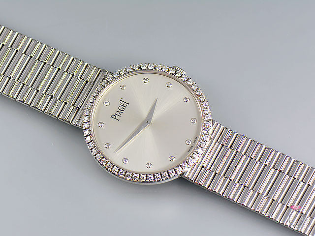 Piaget 18K Traditional Mecanique Watch. Original Diamond Dial & Bezel G0A37045