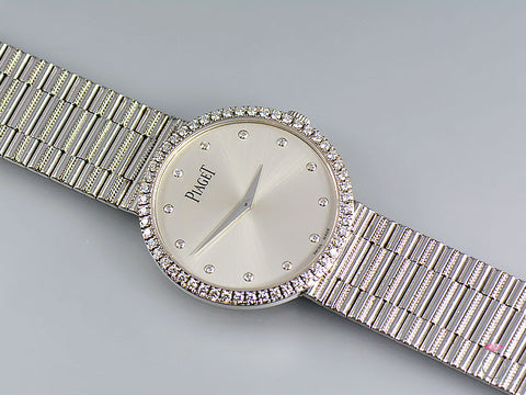 Piaget 18K Traditional Mecanique Watch. Diamond Dial & Bezel G0A37045