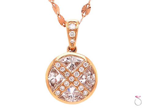 Designer Round Pizza Cut Diamond Pendant in 18k Rose Gold With Chain, 1.45 Carat