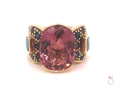 Pink Tourmaline, Sapphire and Opal Statement Ring