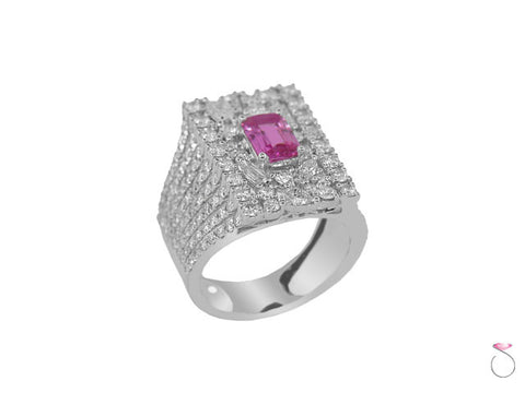 Emerald Cut Pink Sapphire & Diamond Ring in 18K