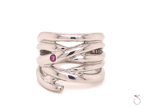 Designer Platinum Ruby Wide Fashion Band