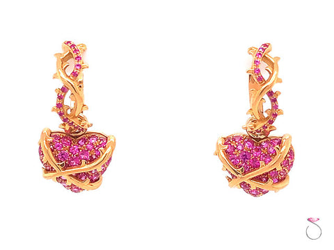 Convertible Hoop Dangle Heart Drop Pink Sapphire Earrings