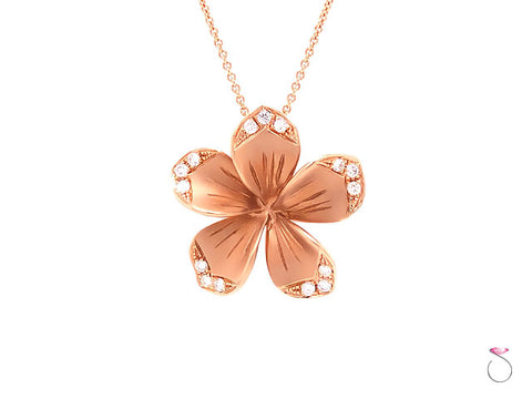 LLK Designer Diamond Plumeria Flower Pendant in 14k Rose Gold