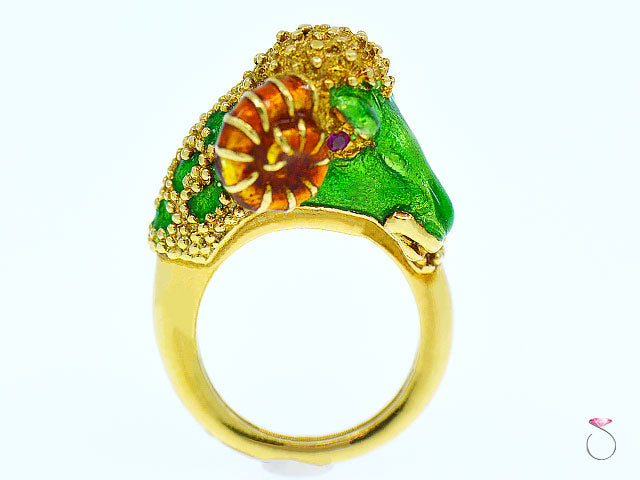 Frascarolo Italy 18K Yellow Gold Enameled Ram Ring, Rare 1960's Animal Motif Modele Depose FC