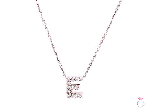 Roberto Coin Diamond Letter E with 18K Chain, Tiny Treasures