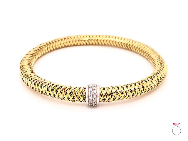 Roberto Coin Primavera 18k Yellow Gold & Diamond Flexible Bangle Bracelet