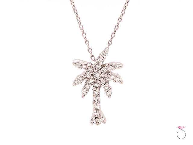 Roberto Coin Diamond Palm Tree Pendant with Chain, 18K White Gold, Tiny Treasures Collection