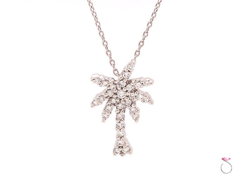 Roberto Coin Diamond Palm Tree 18K Pendant with Chain, Tiny Treasures