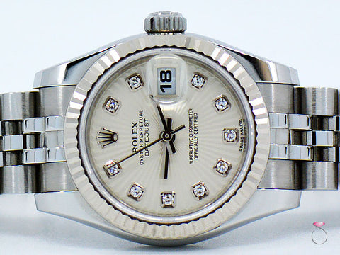 ROLEX Ladies DateJust 26mm 179174 SS Watch With 18K Bezel & Sunbeam Diamond Dial