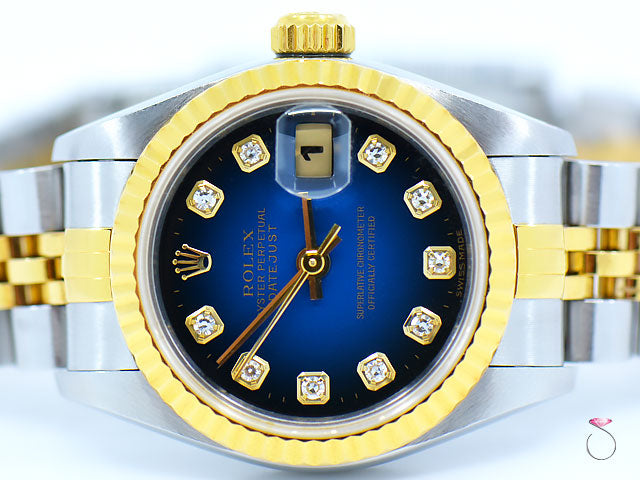 Rolex Datejust ladies 69173 18K & SS 2T, Blue Vignette Diamond Dial Box & Papers