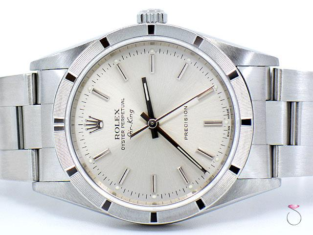 ROLEX Air-King 14010M 34mm Stainless Steel Watch Silver Dial Oyster Bracelet
