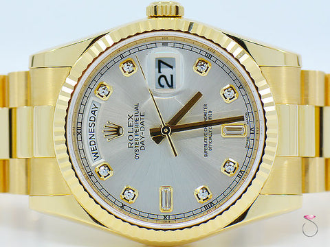 ROLEX DAY DATE PRESIDENT 18K YELLOW GOLD 36MM, DIAMOND DIAL REF# 118238 NEW