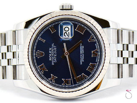 Rolex DateJust 116234 SS & 18K White Gold Bezel, Roman Numeral Blue Dial 36mm