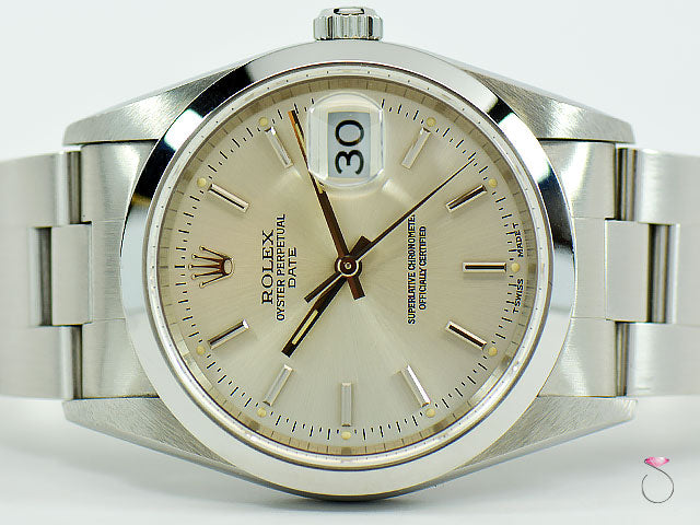 Rolex Oyster Perpetual Date Stainless Steel 34mm, Silver Dial Ref. 15200