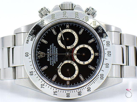 Rolex Daytona Zenith Ref 16520 Steel Watch, Black Dial, Unpolished A Serial 1999