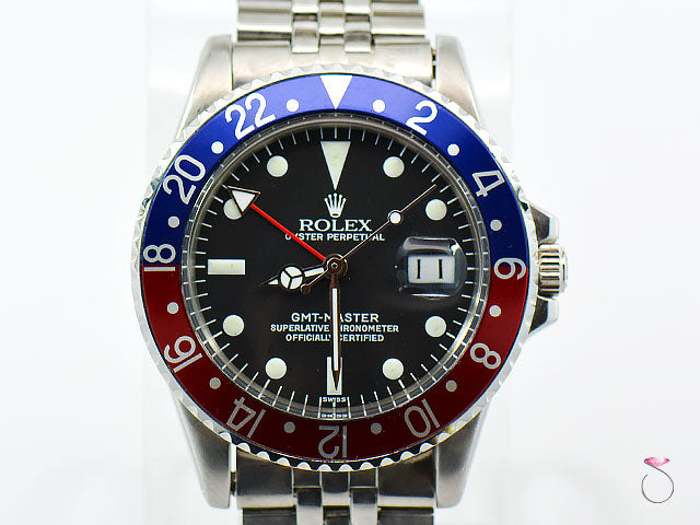Rolex GMT-Master 1675 Stainless Men's Watch, Jubilee, Pepsi Bezel Circa 1970