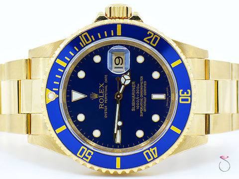 ROLEX SUBMARINER 18k Yellow Gold 40mm Blue MEN'S WATCH, REF. 16618 T