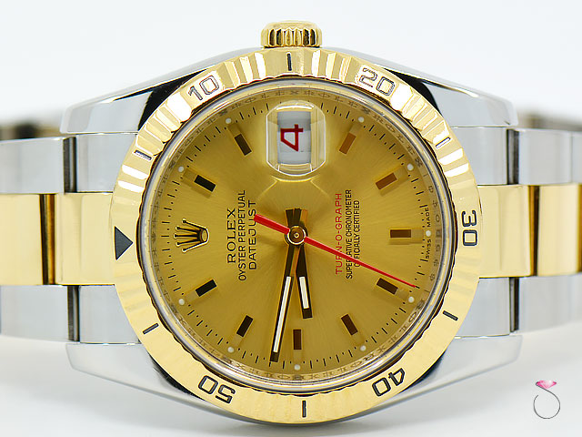 Rolex DateJust Turn-O-Graph 36mm 18K & Steel Watch, Champagne  Dial Ref. 116263