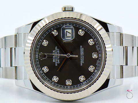 ROLEX DATEJUST II 41MM STAINLESS STEEL , 18K BEZEL, GRAY DIAMOND DIAL 116334
