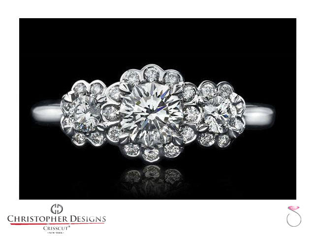 Christopher Designs Floral Halo Three stone Diamond Engagement Ring Style: SP-RD100