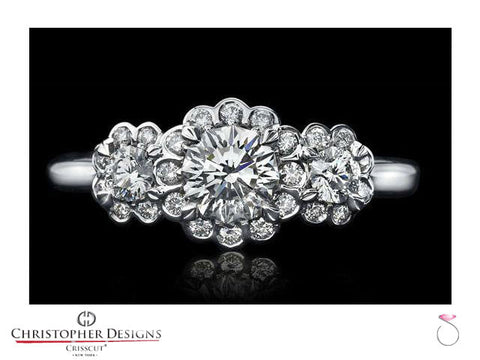 CD Halo Three stone Diamond Engagement Ring SP-RD100