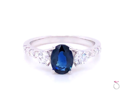 Sapphire & Diamond Engagement Ring in 14K White Gold