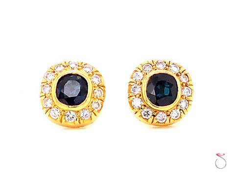 Vintage Blue Sapphire & Diamond Cushion Halo Stud Earrings