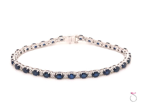 Blue Sapphire Diamond Tennis Bracelet, in 14K White Gold