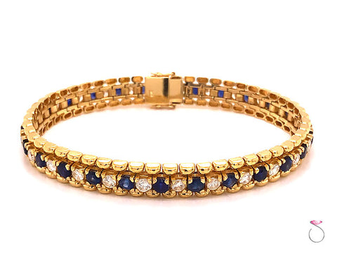 Natural Sapphire and Diamond Tennis Bracelet