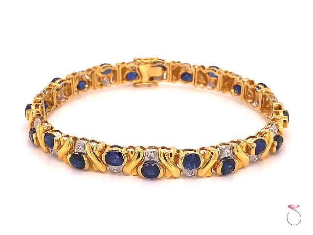 Natural Blue Sapphire and Diamond Bracelet